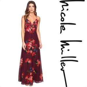 Nicole Miller New York Floral Chiffon Gown